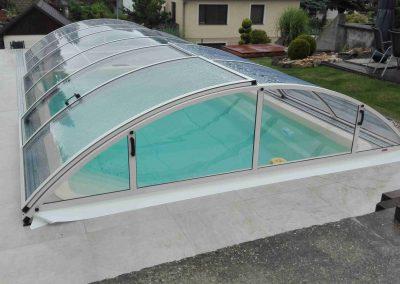 Zastřešení bazénu Poolor Classic - krémová bílá - plný polykarbonát
