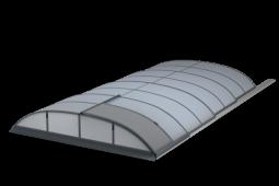 Moderní, nízké a elegantní zastřešení bazénu POOLOR 3R