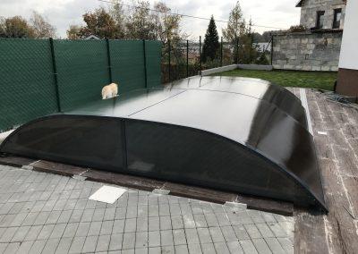 Zastřešení bazénu Poolor 3R antracit - kouřový polykarbonát